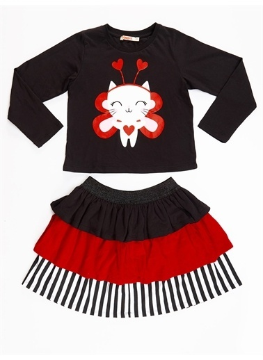 Denokids Cute Heart Kız Etek Takım Renkli